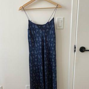 Vince blue floral silk slip dress